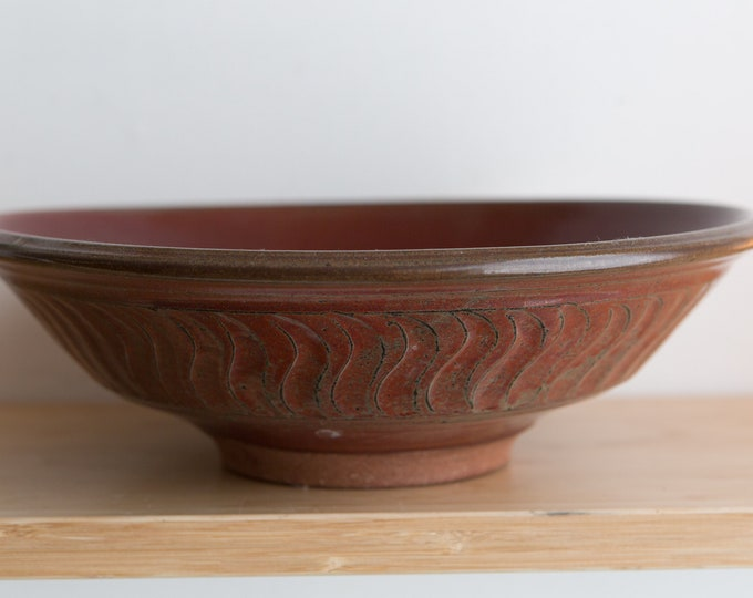 Large Ceramic Bowl - Dark Red Glazed Rustic Bowl - Signed by Artists - Studio Art Abstract Pottery Artwork Dish
