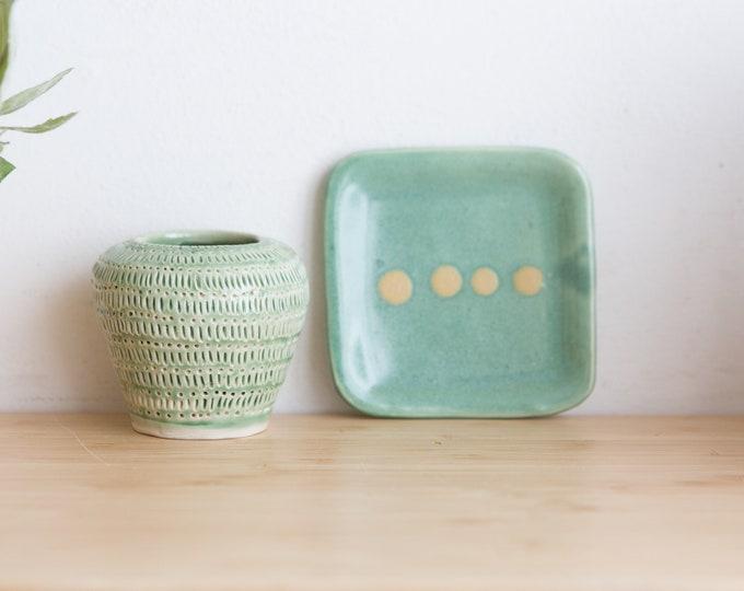 Ceramic Bud Vase and Plate - Green Glaze Vintage Boho Glaze Bubble Vase and Jewelry Dish - Studio Pottery