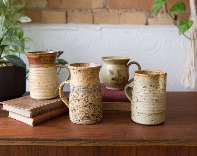 3 Ceramic Handmade Mugs and 1 Pitcher - Brown Studio Pottery - Ceramic Planters