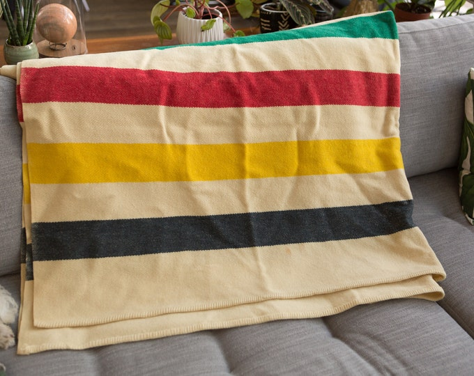 Vintage Striped Blanket - LARGE Early's Witney Point  Cream Wool Bed Cover - Made in England - Cottage Cabin Rustic Farmhouse Decor