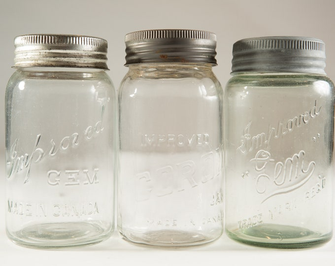 3 Vintage Imperial Gem and Corona Canning Mason Jars (Made in Canada) - Farmhouse Decor Quart Jars - Canadiana Rustic Kitchen