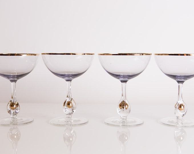 4 Champagne Coupe Glasses with Purple Hue and Gold Accents - 8oz Mid Century Modern Hollywood Regency Cocktail Glasses -Retro Party Stemware