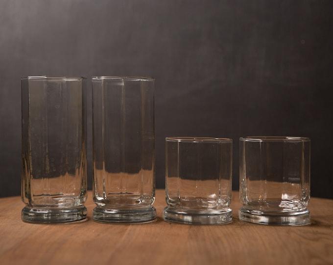 4 Octagon Cocktail Glasses - Vintage Lowball Tumbler Barware Drinking Glasses - Retro Geometric Drinking Water Glasses - Retro Modern