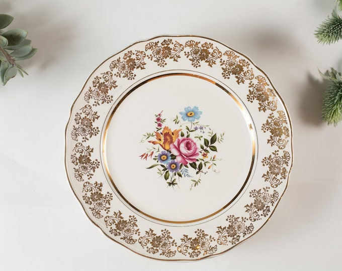 6 Alfred Meakin Vintage Dinner Plates - English Floral Plates with Pink Flowers - Ornate Golden Posy Dinner Plates - Mothers Day Gift