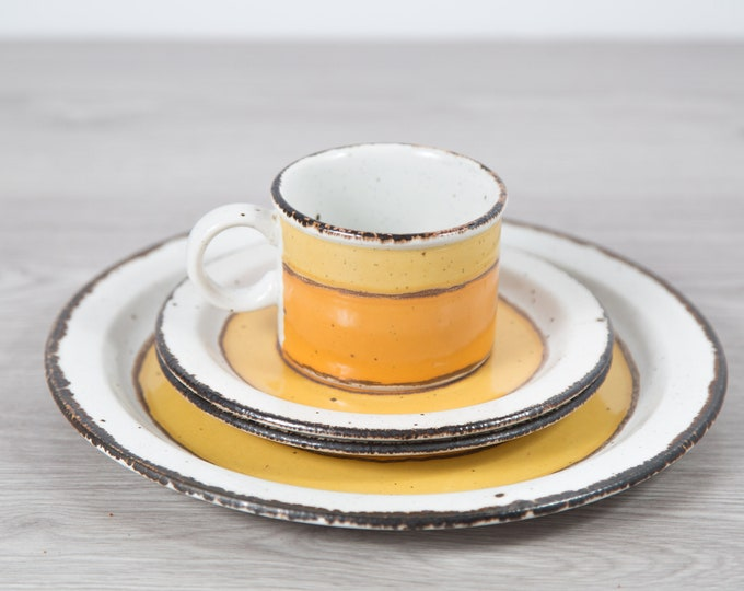 Stonehenge Midwinter Sun Plates and Cup - Orange and Yellow Glaze Circle Geometric Dinner Plates - Rustic Cabin Cottage Speckled Dinnerware
