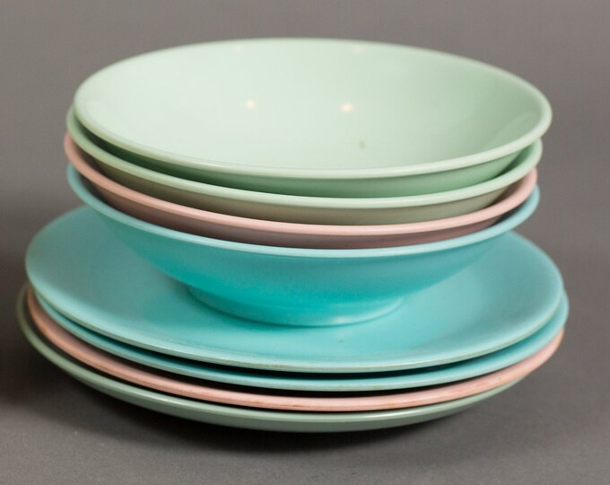 Vintage Melmac Plates and Bowls - Lournay Melmac - 8 Set of Blue, Pink, Green Dinnerware Dinner Plates - Pastel Camping Bowls