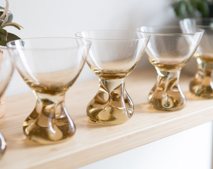 5 Cocktail Glasses - Honey Coloured Stemware with Heavy Base - 6 ounce Handblown Amber Glass Stemware