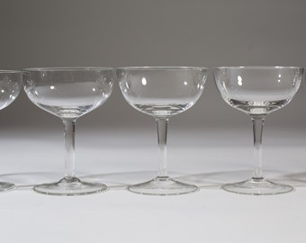 8 Champagne Coupe Crystal Glasses - 4.5oz Mid Century Modern Hollywood Regency Cocktail Glasses - Retro Party New Years Christmas Stemware