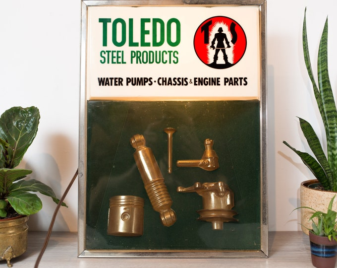 Toledo Steel Products Store Display - Vintage Water Pumps, Chassis Engine Parts  Sample Case - Industrial Store Display - Light Advertising