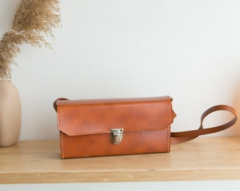 Vintage Camera Bag - Tan Brown Faux Leather Carrying Case / Purse with Silver Colored Buckles and Shoulder Strap