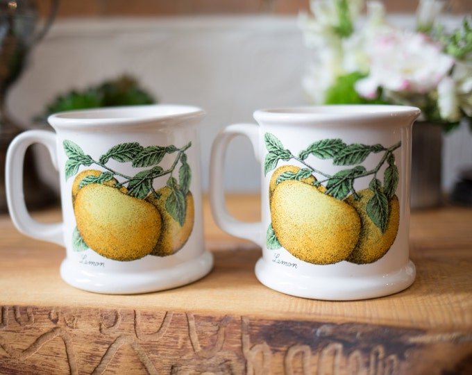 Vintage Lemon Mugs / Pair of Heavy Ceramic Mugs with Lemon and Leaves Illustration - Yellow and Green and White