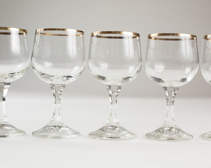 8 Wine Glasses with Gold Rims - 5oz Mid Century Modern Hollywood Regency Cocktail Glasses - Retro Party Stemware - Mother's Day Gift