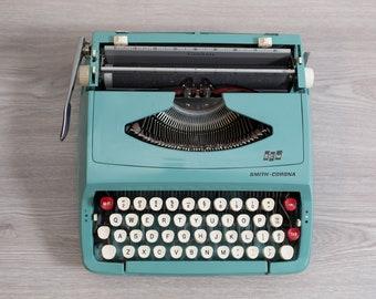 Smith Corona Typewriter - Vintage WORKING Teal Turquoise Portable Typewriter with Original Carrying Case - Mid Century Modern Decor -England