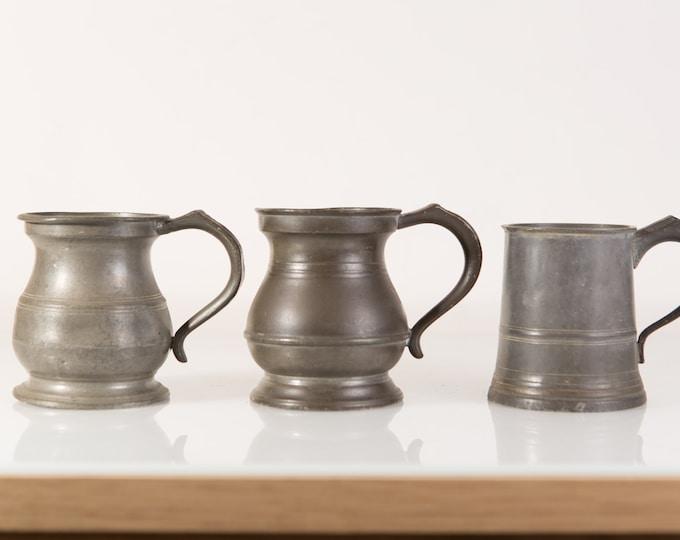 Antique Pewter Beer Steins / Tankards - Set of 3 Collectible Vintage Pewter Barware Mugs - Game of Thrones / Medieval German Style Tankard