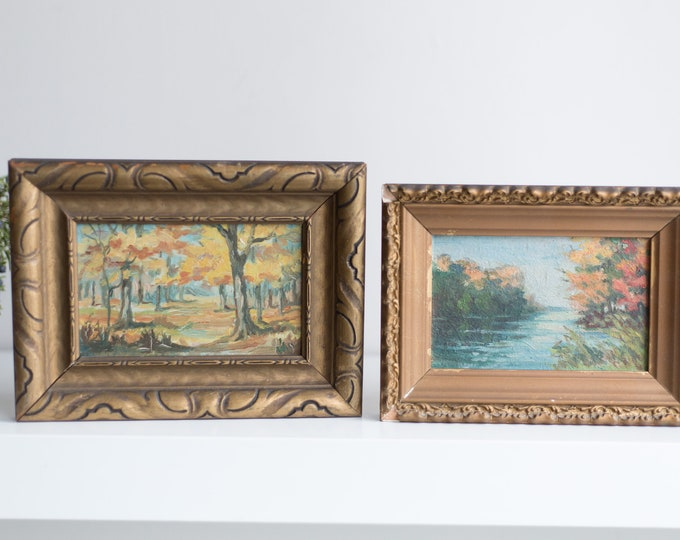 Antique Small Framed Paintings - 1930's Country Nature Scene with Changing Autumn Tree Leaves and River -Rustic Vintage Bronze Colored Frame