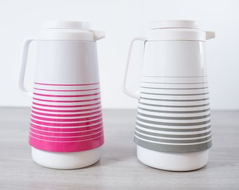 Vintage Striped Thermos Pitcher / 1980's Mod Banded Hot Pink and Grey and White Glass lined Camping Insulated Thermos Pitcher Carafe