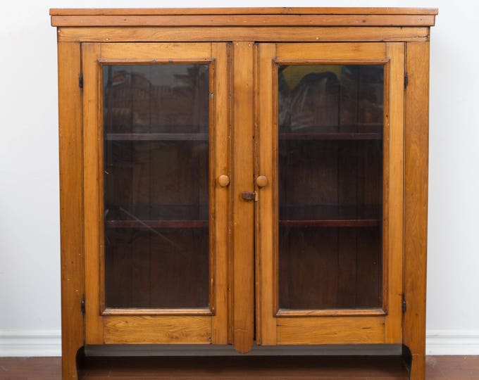 Antique Wood Cabinet / TORONTO Early 1900's Wood Cabinet with Shelving and Glass Doors / Primitive Canadiana Rustic Home Decor
