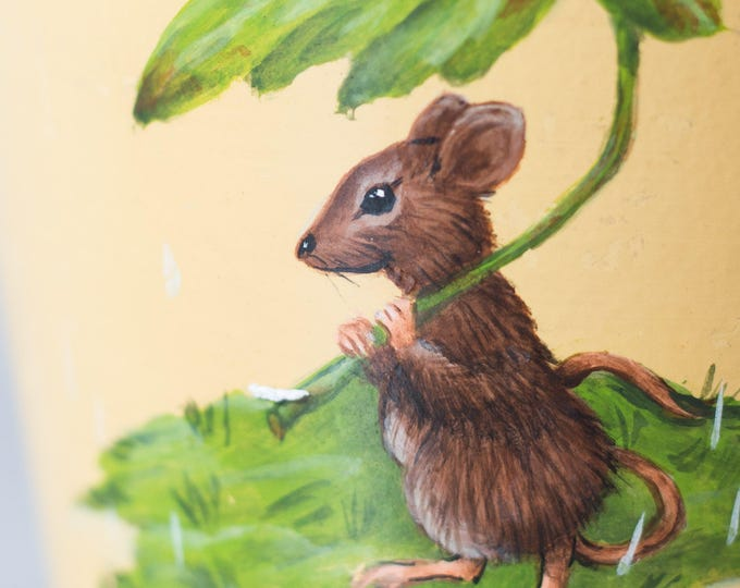 Hand painted Planter / Fine Art Mouse Painting on a Ceramic Flower or Plant Pot / three blind mice hanging from a tree /