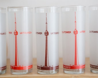 10 Canadian Frosted Bar Glasses - Vintage Drinking Highball Glasses - Toronto CN Tower and Cocktail Recipe Glassware Barware