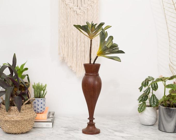 Vintage Wood Vase - Mid Century Modern Primitive Flower Vase - Solid Wood Fluted Bust Vase - Mother's Day Gift Idea