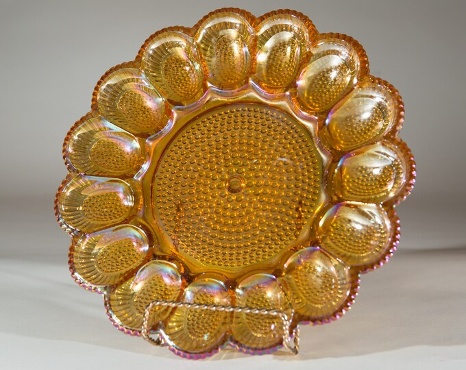 Vintage Deviled Egg Plate - Indiana Glass Iridescent Orange Hobnail Glass Serving Plate with Scalloped Edges