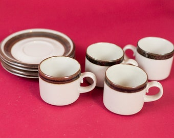 Vintage Arabia Cups and Saucers - Set of 4 Wartsila Finland Karelia Pattern Tea or Coffee Cups - Rustic Brown Stripe Scandinavian Finnish