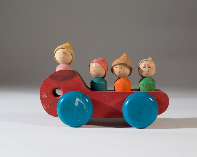 Toy Trolley Wood Carving - Boys and Girls Figurines Folk art Artisan Made Hand Painted Car - Hand Carved and Painted Solid Wood