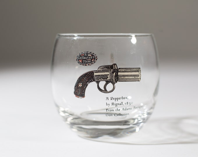 Gun Whisky Glasses - Pepperbox by Rignall, 1830 - Rifle Roly Poly Bar Glasses - 10oz Whisky Glasses with Decal - Mad Men Retro Barware