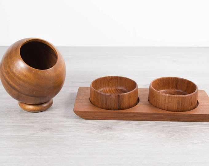 Teak Wood Condiment Set / Vintage Round Exotic Solid Wood Food Safe Serving Appetizer Dish / Hand Carved Hardwood Space Age Mid Century