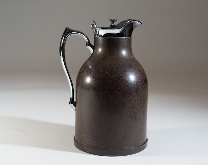 Vintage Thermos Pitcher - 32oz Brown Tea Jug - Stainless Steel Metal Coffee Insulated Thermal Carafe -Stronglass - Made in Toronto Canada