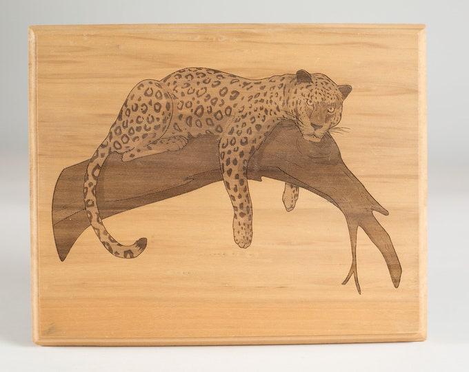 Cheetah Artwork - Vintage Animal Print Laser cut Art - African Jungle - Large Cat on Tree