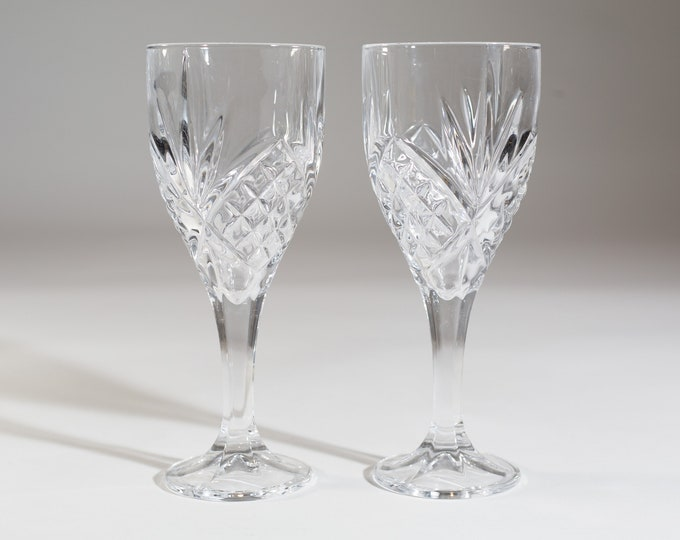 Vintage Crystal Wine Glasses - 8 ounce Pair of Diamond Starburst Glass Stemware