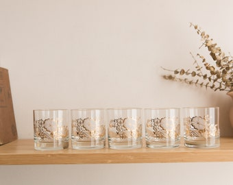 5 Vintage Glasses with White and Gold Floral Pattern - Ornate Flower Lowball Cocktail Glasses