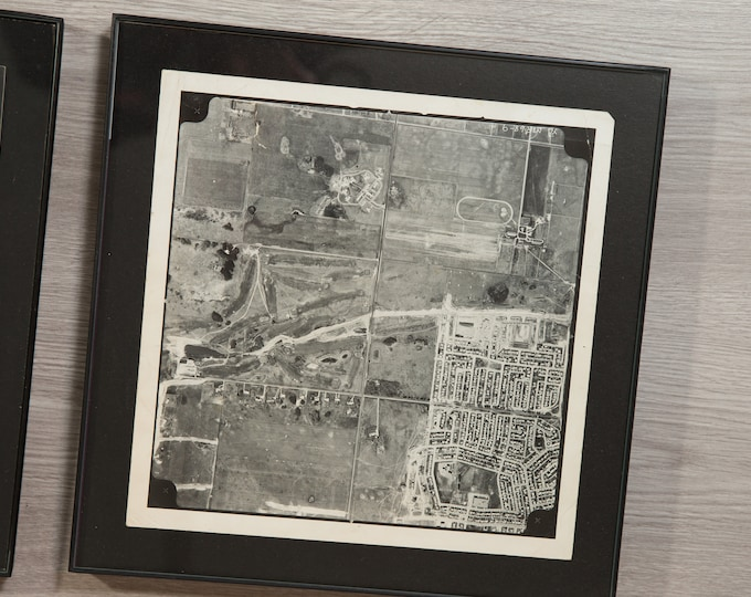 "6 Vintage Aerial View Photos - 12x12"" Framed Square Black and White Photos of Land Plots and Water -Square Framed Artwork - 10x10"" photos"