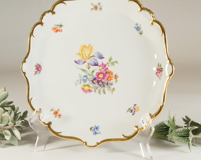 Vintage Serving Plate - Large Floral PlateWith Gold Edge - Ornate Pink and Yellow Flowers -Made in Germany Wedding Dinnerware - Gift for Mom