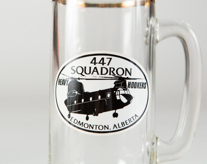Canadian Glass Mug - 447 Squadron Heavy Hookers Edmonton Alberta Airforce War Mug - Vintage Beer Glass - Gift for Dad - Father's Day Gift