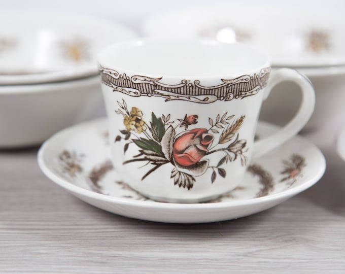 Vintage Floral Plates, Teacups and Bowls Set - Rosedale Wood and Sons Hand Engraved Detergent Proof Ornate Pink Flowers - Made in England