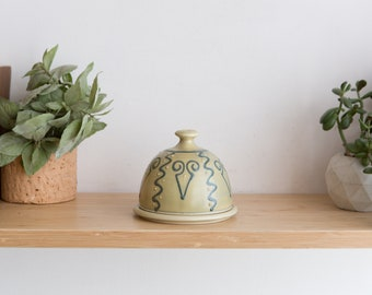 Ceramic Butter Dish and Tray - Lidded Round Handmade Pottery