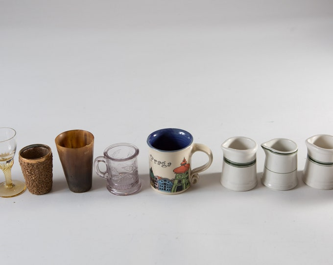10 Vintage Shot Glasses and Small Cups - Mismatched Apéritif Cocktail Glass