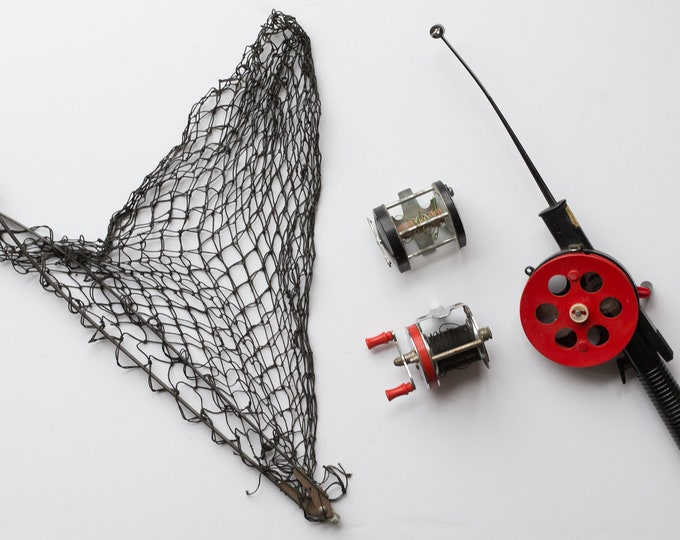 Vintage Fishing Reels, Net, Rod - Red and Black Fishing Pole Reel - Bumerang made in Finland Fishing Pole