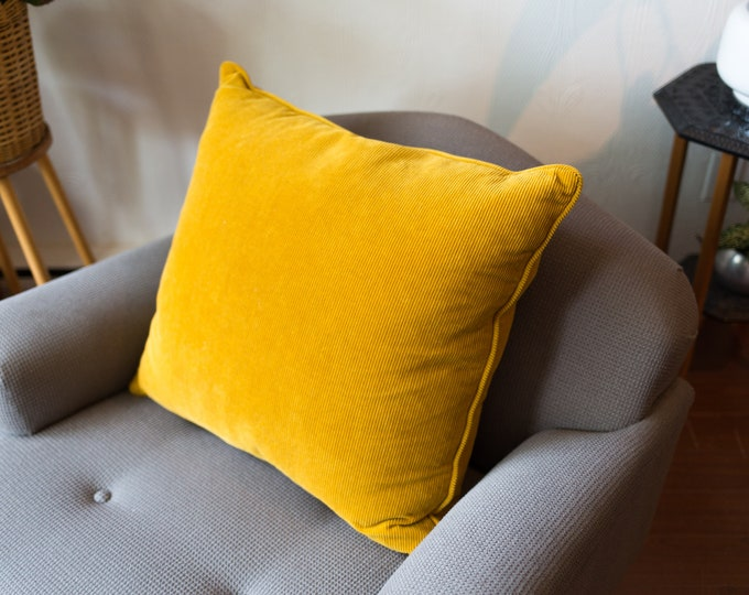 Vintage Yellow Pillow - 20x22 Down Filled Mustard Yellow Corduroy Decorative Throw Pillow