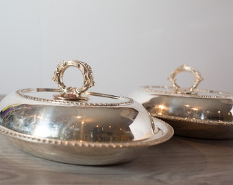Old English Silver Plated Entree Serving Dinner Platters / Antique Edwardian Style Vegetable Serving Tray