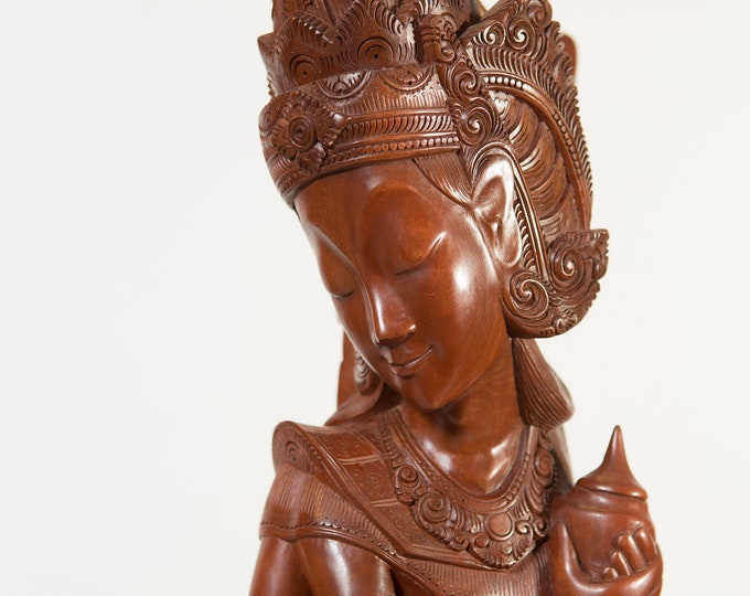 Antique East Asian Statue - Large Rosewood Hardwood Hand-carved Dark Wood Boho Standing Woman and Daughter Ceremonial Indigenous Art