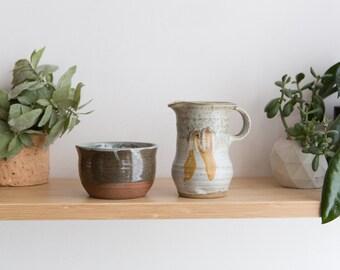 Ceramic Jar and Small Pitcher - Handmade Studio Pottery - Ceramic Bowl and Jug - Rustic Farmhouse Minimalist Decor