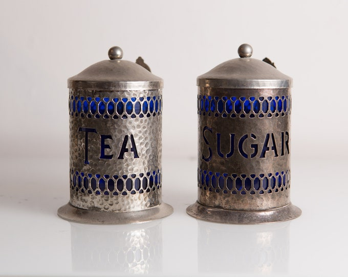 Vintage Tin Coffee and Tea Canisters with Spoons and Blue Plastic Liner - Silver Plated Edwardian Decor