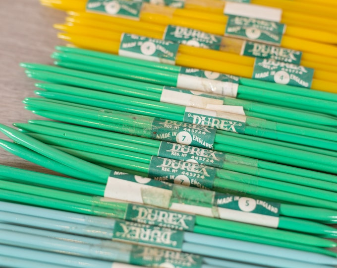 Vintage Knitting Needles - Durex Plastic Crochet Needles - Colourful Yellow, Blue, Green and Red Needles