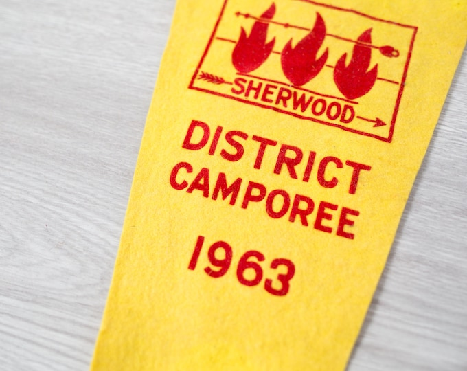 Vintage Toronto Pennant / 1950's Felt Souvenir Hanging Triangle Shaped Camping Theme Wall Decor / Toronto Sherwood District Camporee 1963