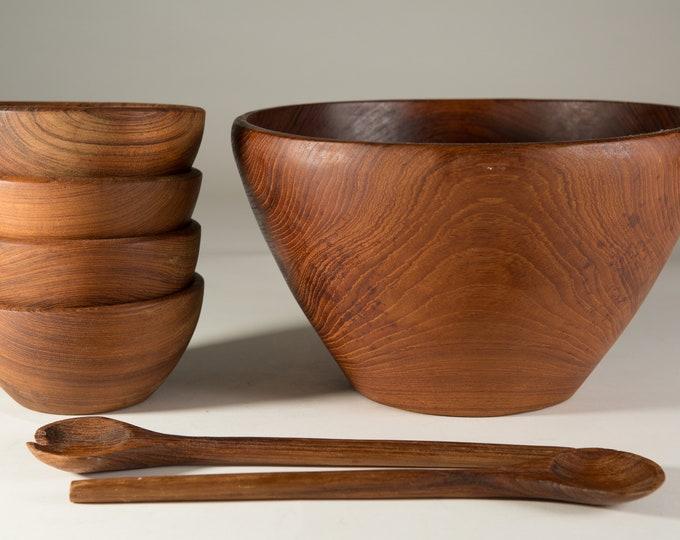 Wood Salad Bowl Set - Vintage Solid Teal Hardwood Food Safe Serving Appetizer Dish Platters - Hand Carved Exotic Wood - Mid Century Modern