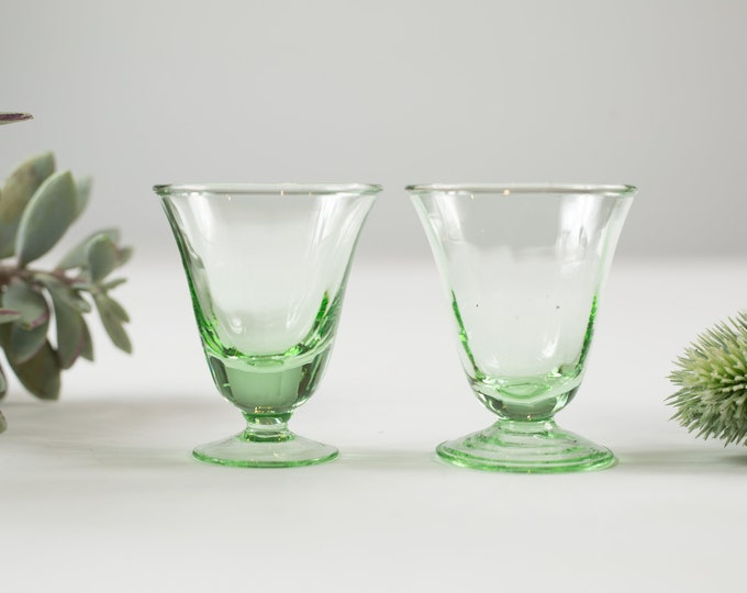 2 Green Apéritif Glasses - 2oz Pair of Antique Small Depression Glass Collectible Serving Stemware - Gift for Mom or Dad