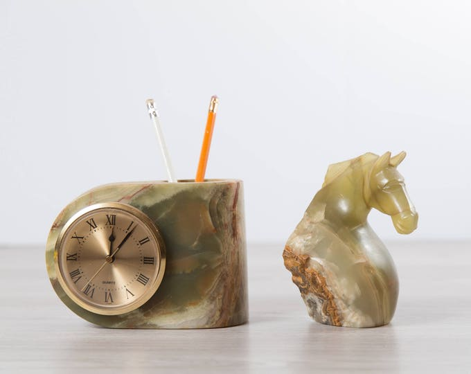 Stone Clock and Pencil Holder / Vintage Art Deco Green and Brown Marbled Quartz Clock and Carved Horse Paperweight for Office